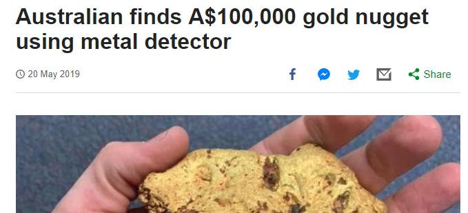 オーストラリアで1.4Kgのナゲットが発見された